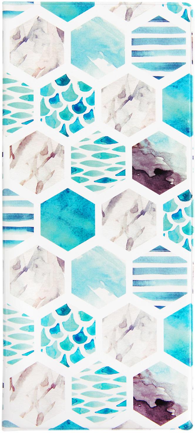 Обложка для документов Kawaii Factory Морская мозаика, цвет: белый, бирюзовыйKW066-000071Обложка для путешествия в отделениями для паспорта и билетов. Сделано в России.Дизайн: Kawaii Factory