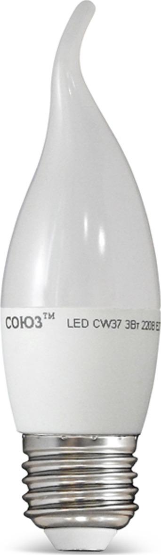 Лампа светодиодная СОЮЗ Свеча на ветру, декоративного освещения, теплый свет, цоколь E27, 6W, 2700K, 500лм1093Декоративные светодиодные лампы классических форм свеча на ветру легко заменят аналогичные лампы накаливания и КЛЛ в люстрах, бра без плафонов и абажуров, является прекрасным дополнением к декоративным осветительным приборам, имеющим открытые плафоны. Изделие обладает долгим сроком службы, на протяжении долгих лет и не требует замены. Благодаря высокому классу энергоэффективности позволяет существенно сэкономить на энергопотреблении.