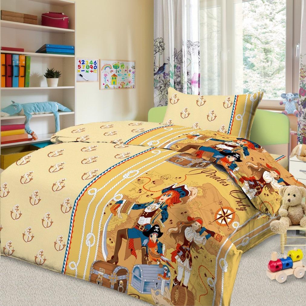 """Комплект постельного белья детский Letto """"Пираты"""", 1,5-спальный, наволочка 50х70, цвет: бежевый"""