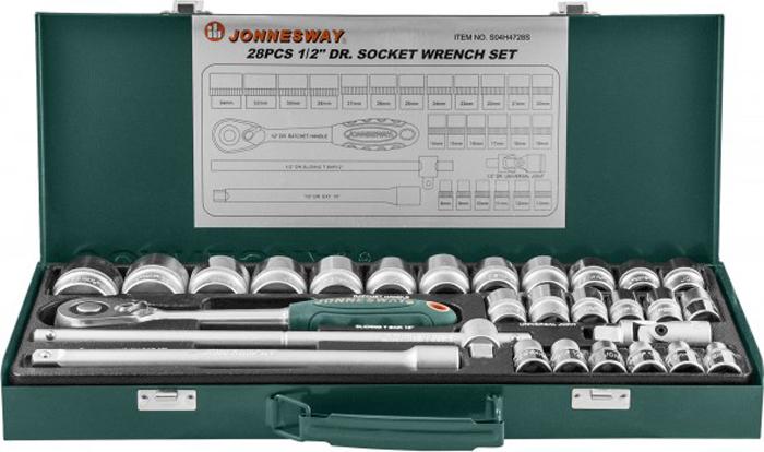 Набор головок Jonnesway, торцевых 1/2DR 8-34 мм, с аксессуарами, 28 предметов унив набор торцевых головок jonnesway 1 4dr 4 13 мм и 1 2dr 8 32 мм комбинированных ключей 6 32 мм и отверток 128 предметов