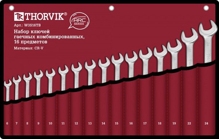 Набор ключей Thorvik, комбинированных в сумке, 6-24 мм, 16 предметов набор комбинированных ключей jonnesway 6 24мм 16 предметов ложемент 48158