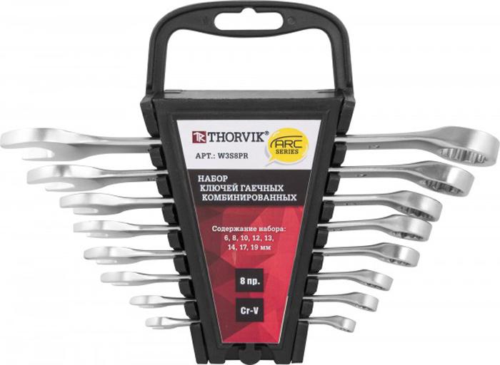 Набор ключей Thorvik, комбинированных на пластиковом держателе 6-19 мм, 8 предметов набор ключей рожковых fit усиленные модерн 9шт 6 22мм в пластиковом держателе 63515