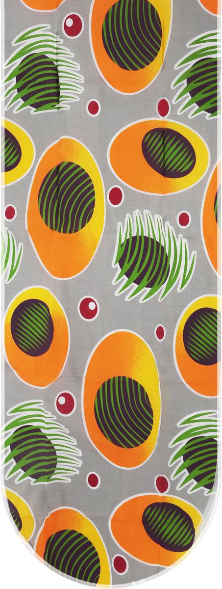 """Чехол для гладильной доски Eurogold """"Basic"""", цвет: серый, желтый с рисунком, размер S. С34"""