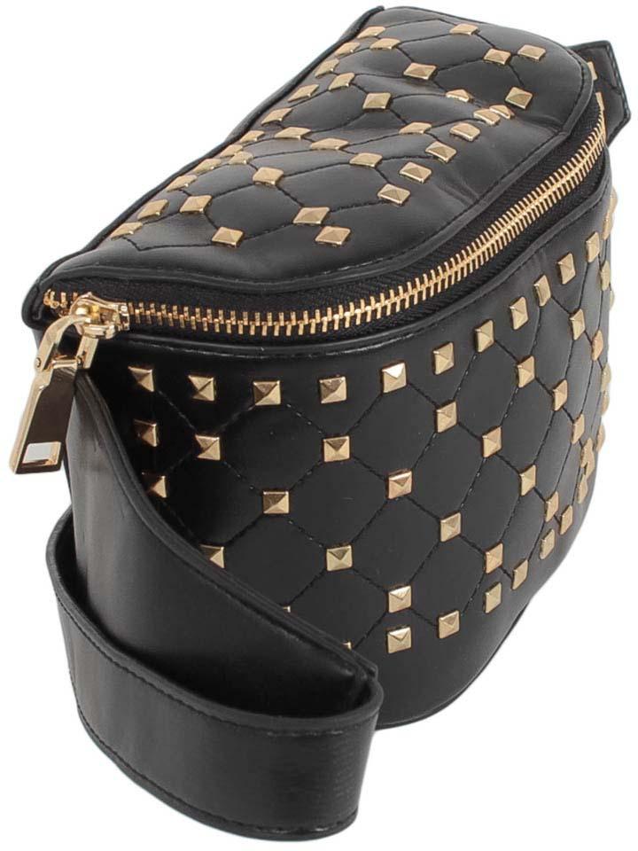 Сумка на пояс женская Flioraj, цвет: черный. 8052 бордовая сумка из экокожи