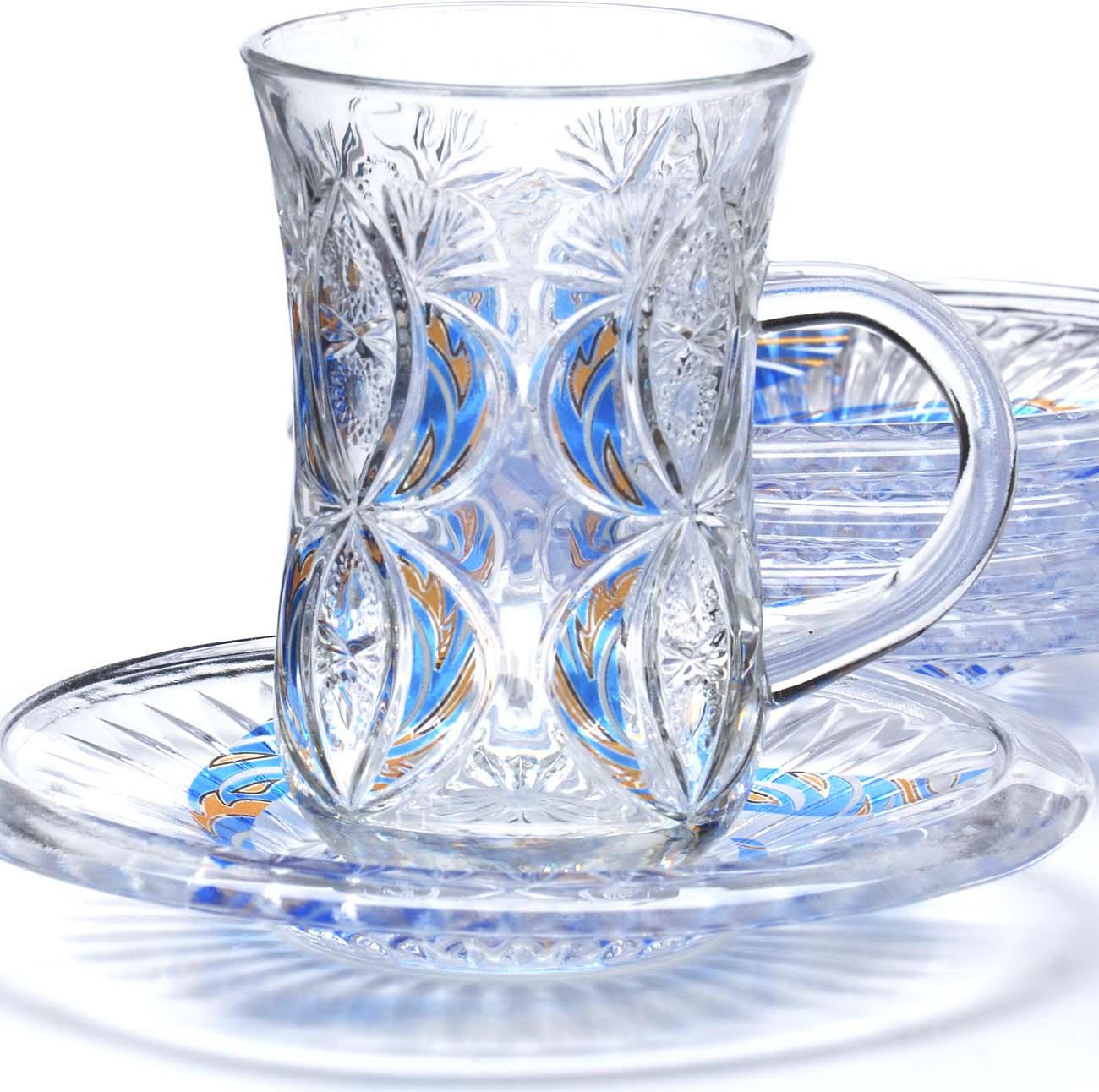 Набор чайный Loraine, цвет: прозрачный, голубой, желтый, 12 предметов