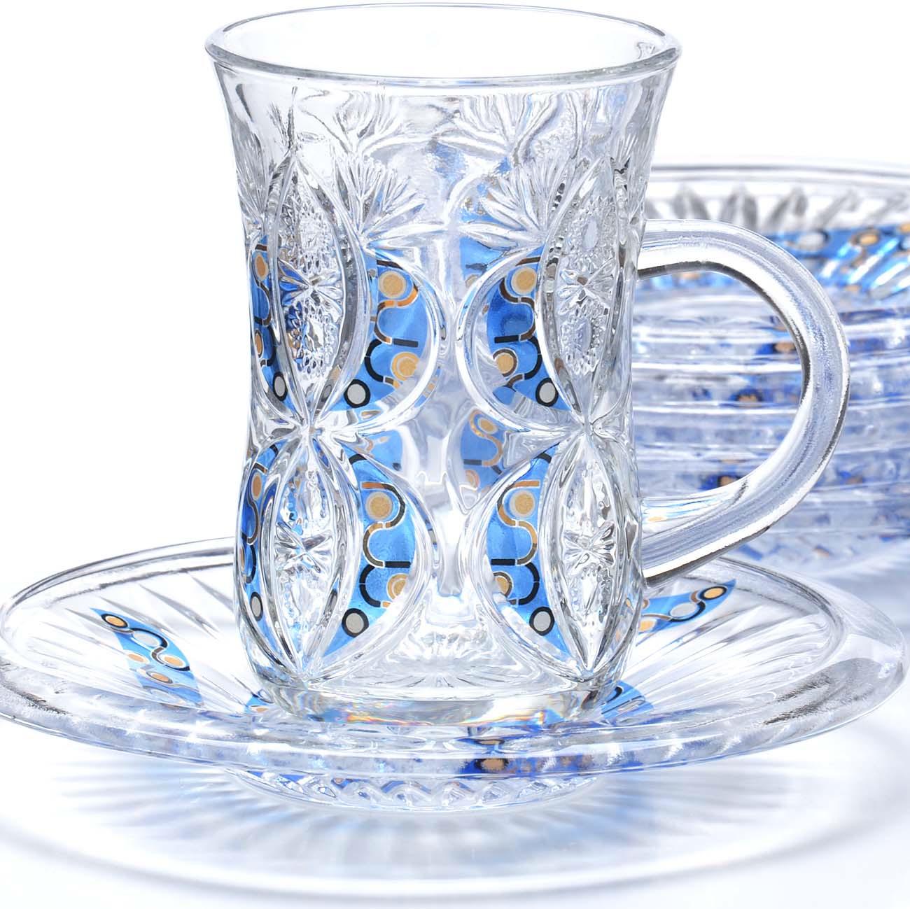 Набор чайный Loraine, цвет: прозрачный, желтый, голубой, 12 предметов