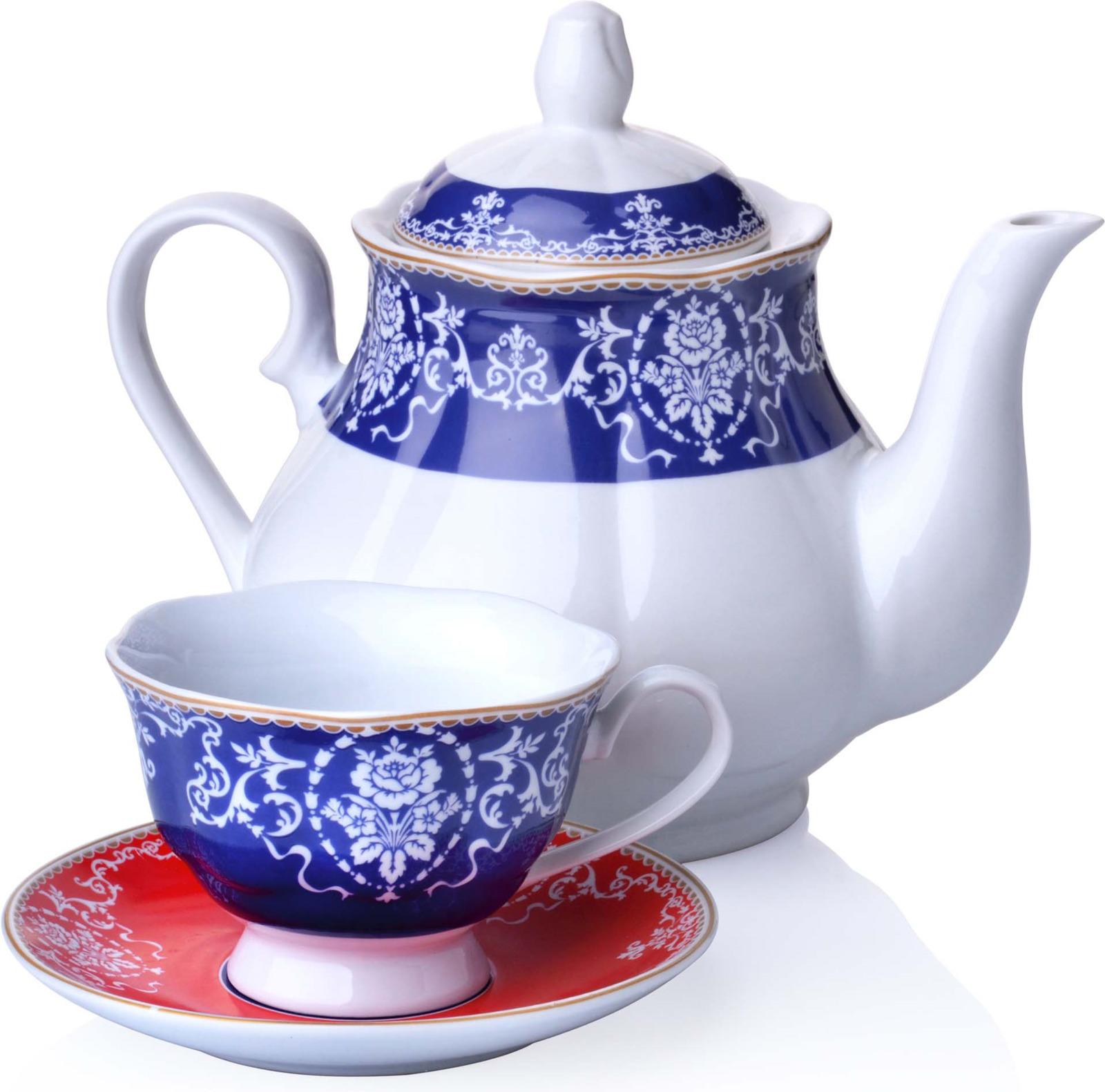 Сервиз чайный Loraine, цвет: синий, красный, белый, 13 предметов цены