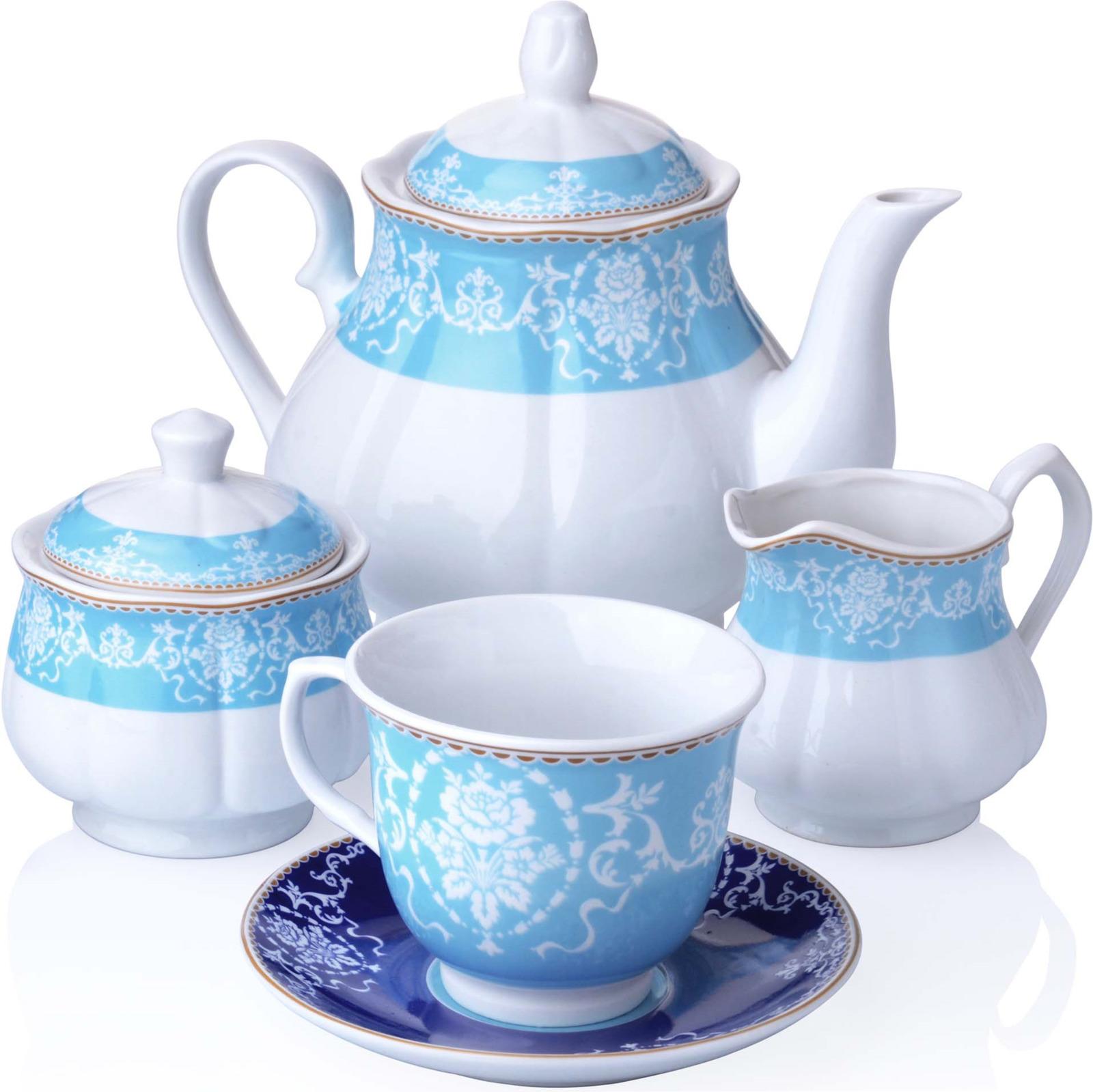 Сервиз чайный Loraine, цвет: голубой, красный, белый, 15 предметов. у4013