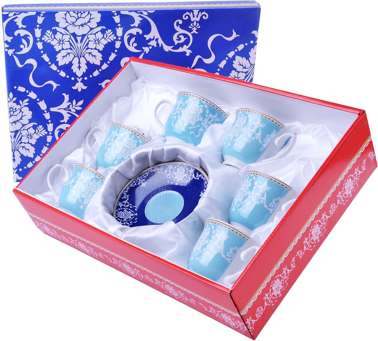 Сервиз чайный Loraine, цвет: голубой, красный, белый, 12 предметов. у4030