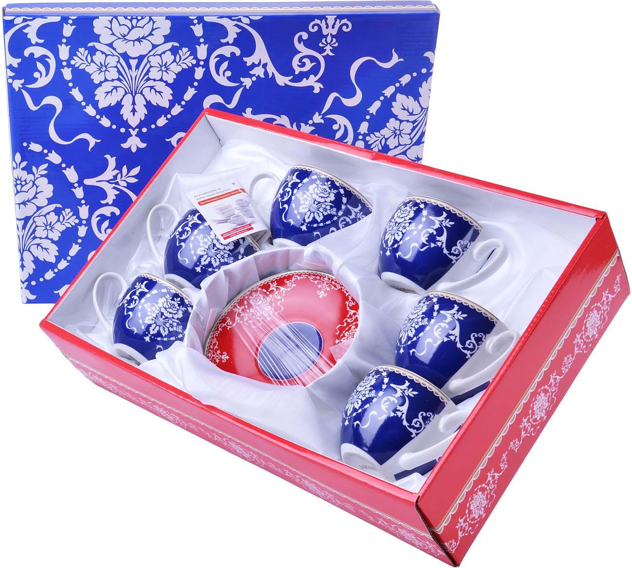 Сервиз чайный Loraine, цвет: синий, красный, белый, 12 предметов цены