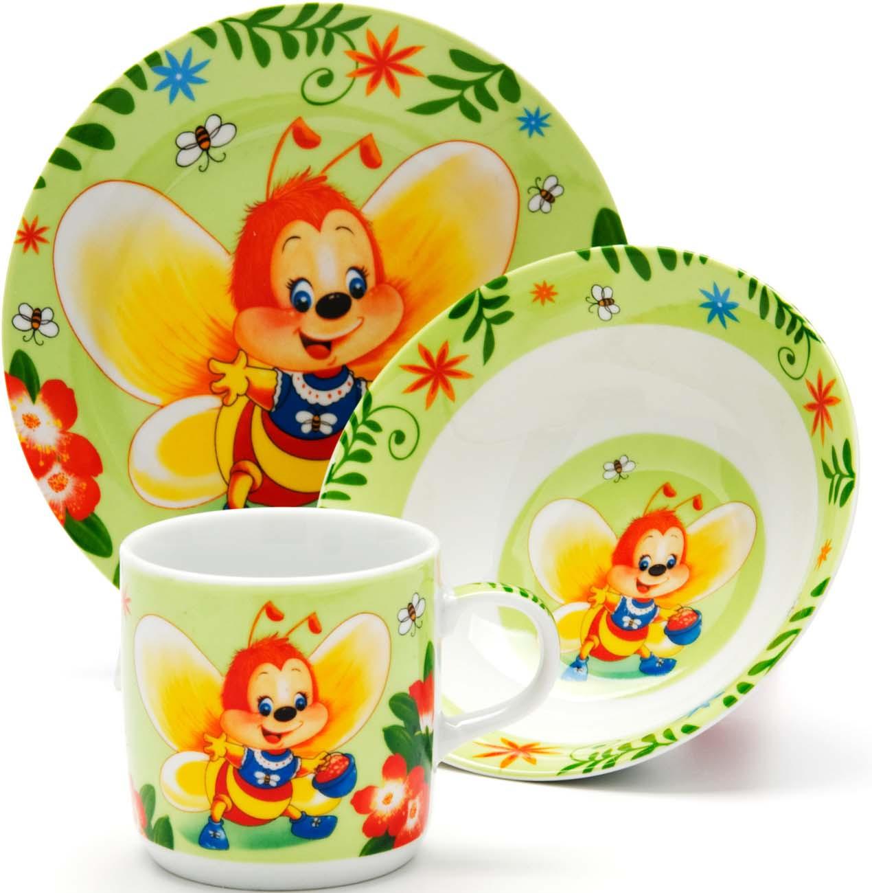 Набор детской посуды Loraine Пчелка, цвет: салатовый, желтый, красный, 3 предмета набор для педикюра 3 предмета мультидом цвет салатовый