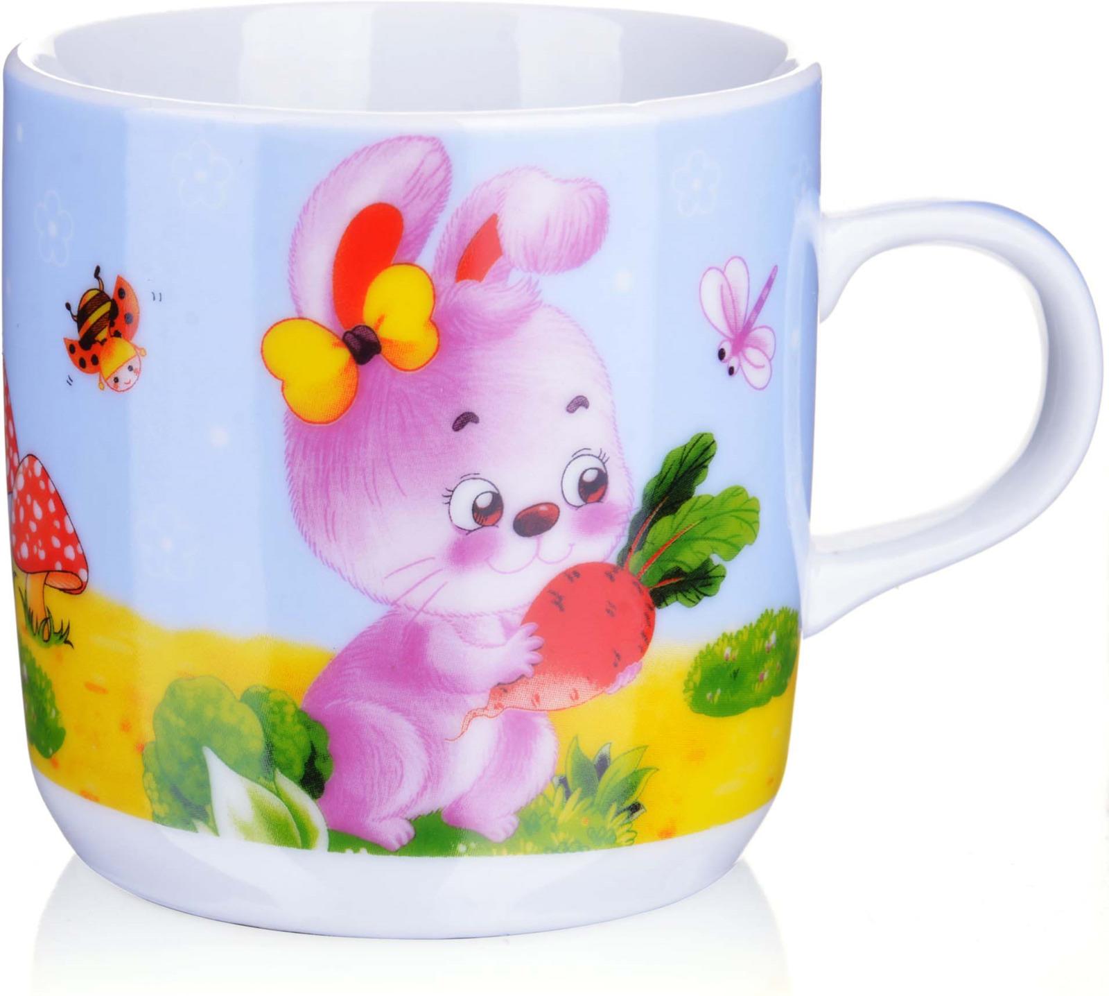 Кружка детская Loraine, цвет: белый, голубой, розовый, 230 мл кружка loraine цвет белый красный голубой 320 мл 24484