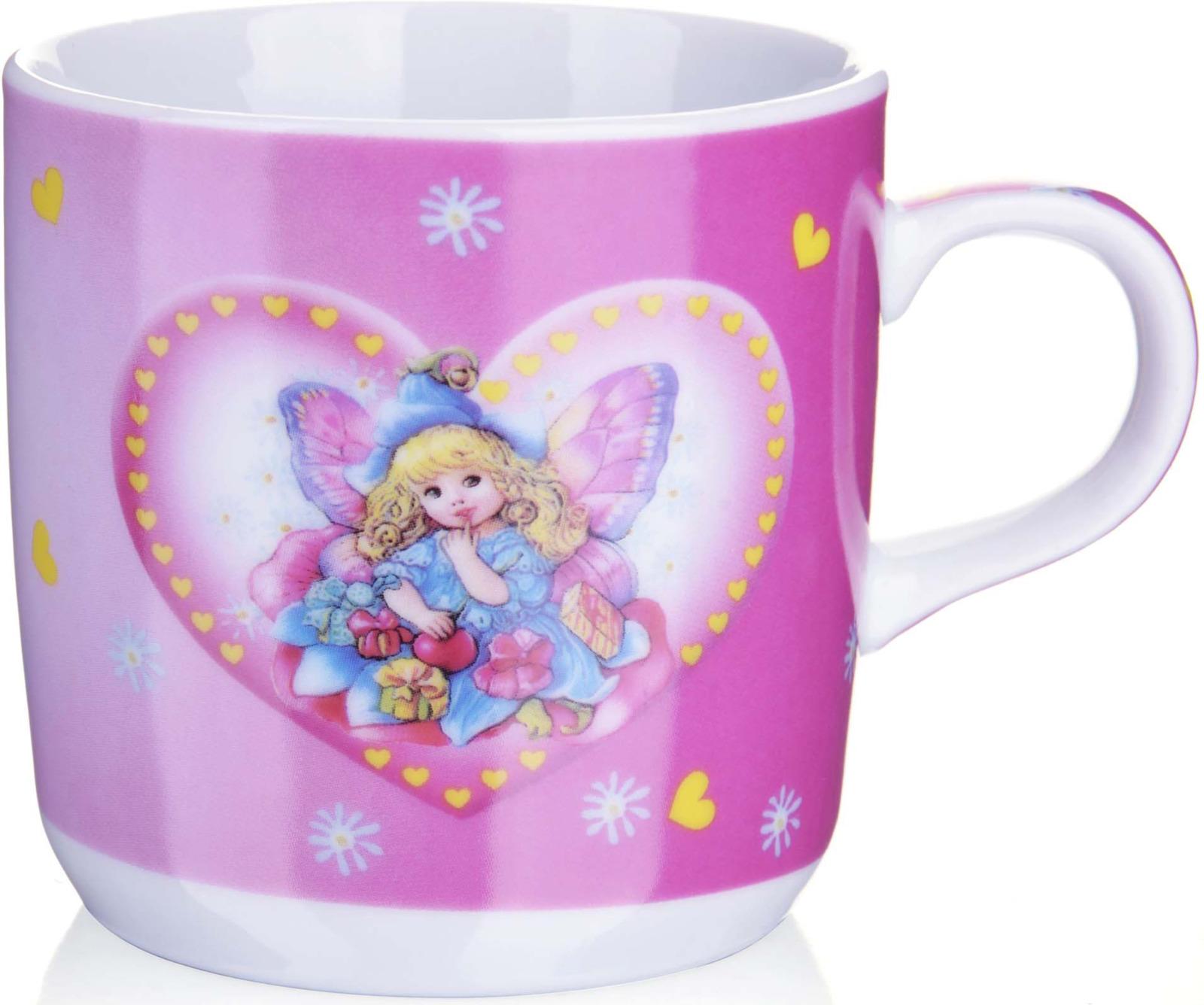 Кружка детская Loraine, цвет: белый, розовый, голубой, 230 мл кружка loraine цвет белый красный голубой 320 мл 24484
