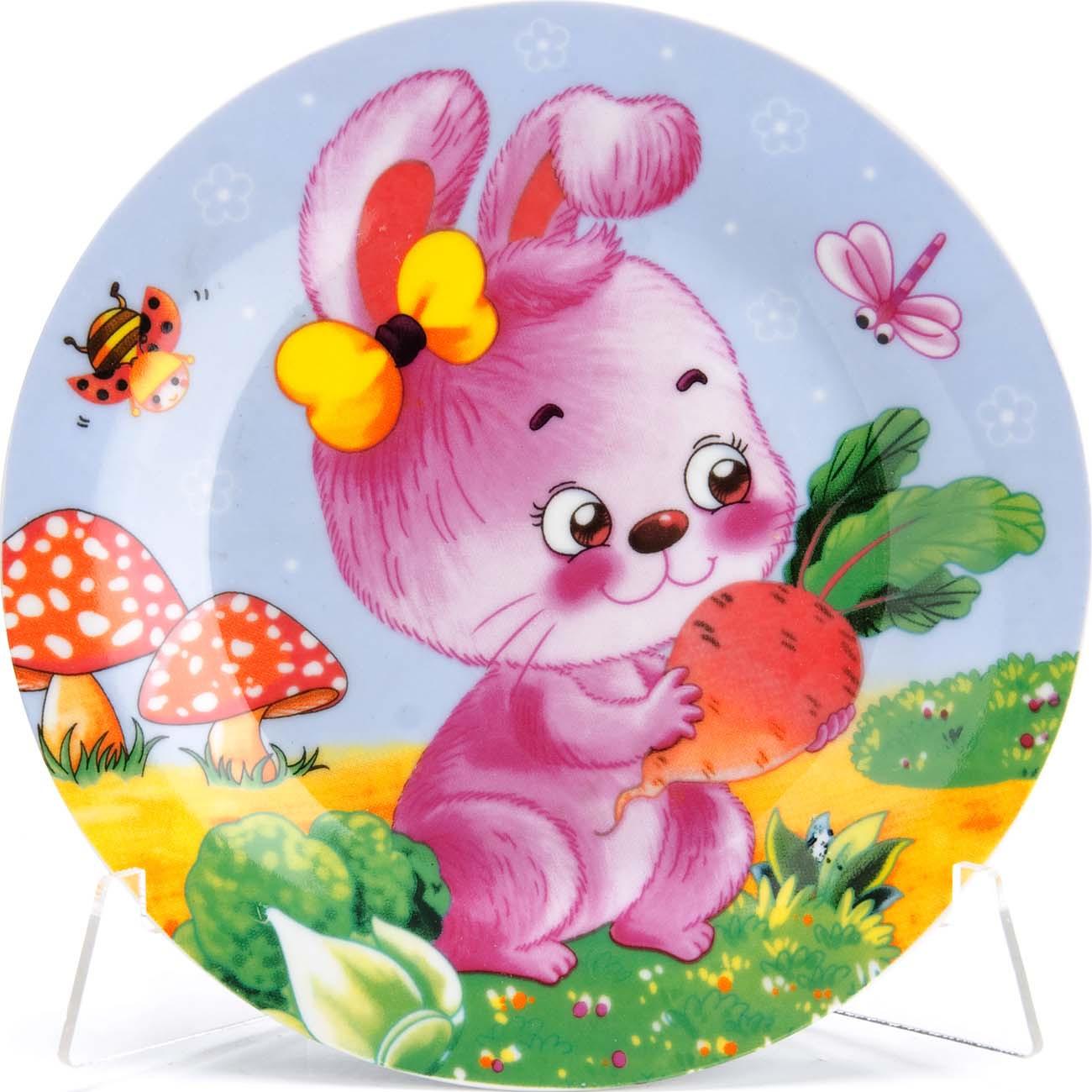 """Набор детской посуды Loraine """"Зайка"""", цвет: голубой, розовый, желтый, 3 предмета"""