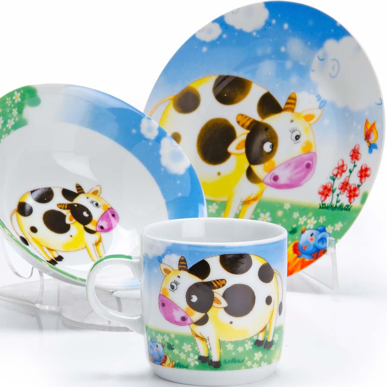 Набор детской посуды Loraine Корова, цвет: голубой, желтый, белый, 3 предмета