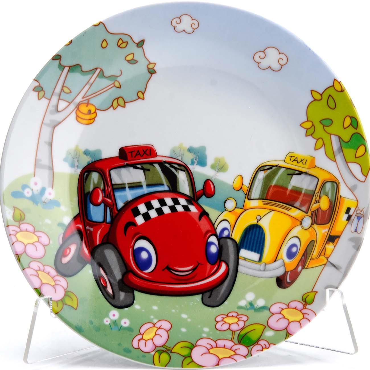 Набор детской посуды Loraine Авто, цвет: белый, красный, желтый, 3 предмета