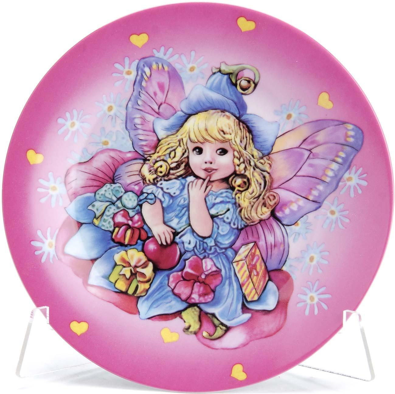 Набор детской посуды Loraine Ангел, цвет: розовый, белый, синий, 3 предмета набор посуды для детей loraine ангел lr 24027