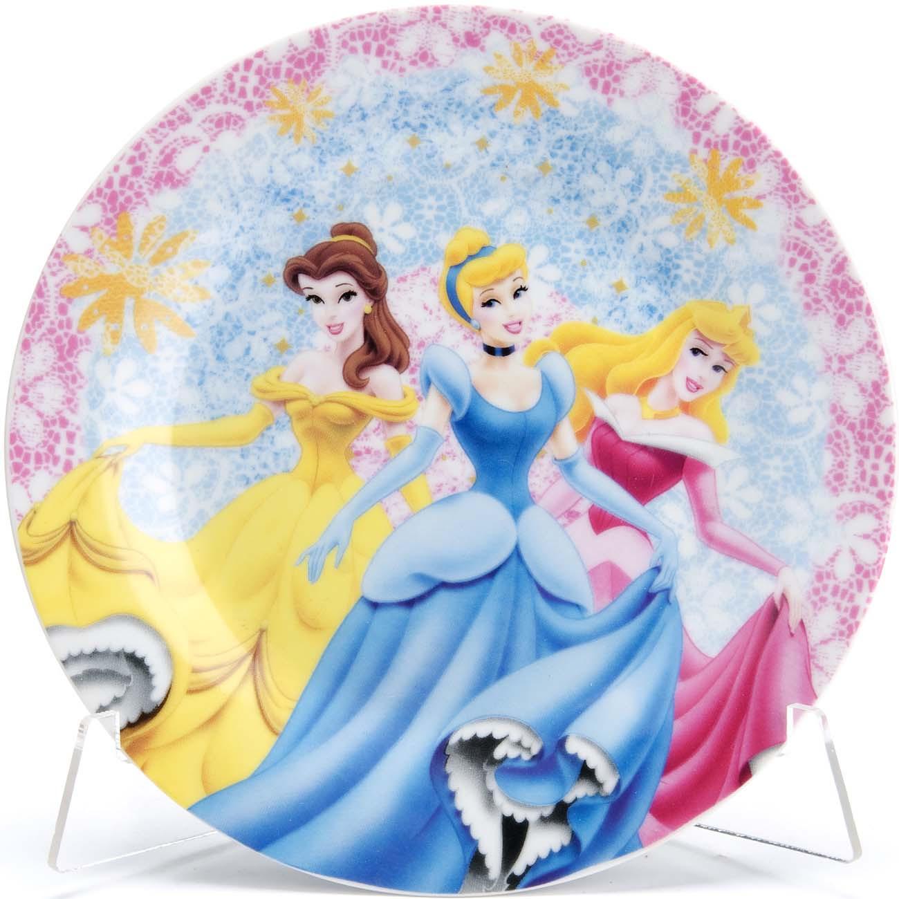 """Набор детской посуды Loraine """"Принцесса"""", цвет: голубой, розовый, желтый, 3 предмета. 33309"""