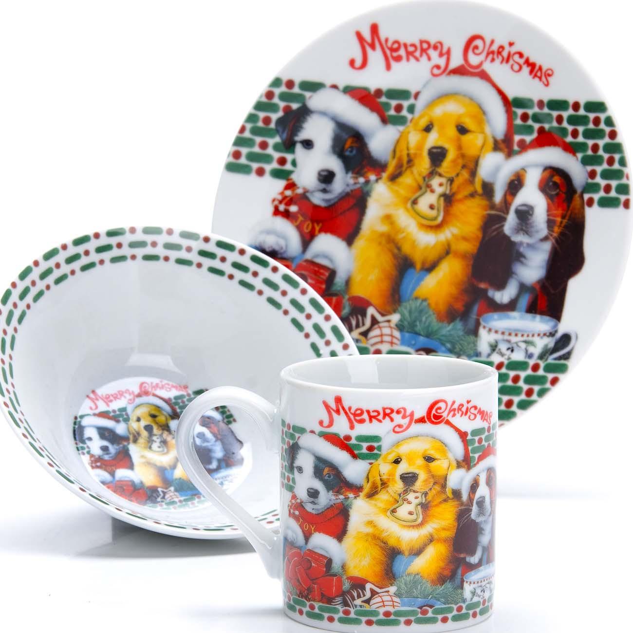 """Набор детской посуды Loraine """"Собачка"""", цвет: красный, желтый, зеленый, 3 предмета"""