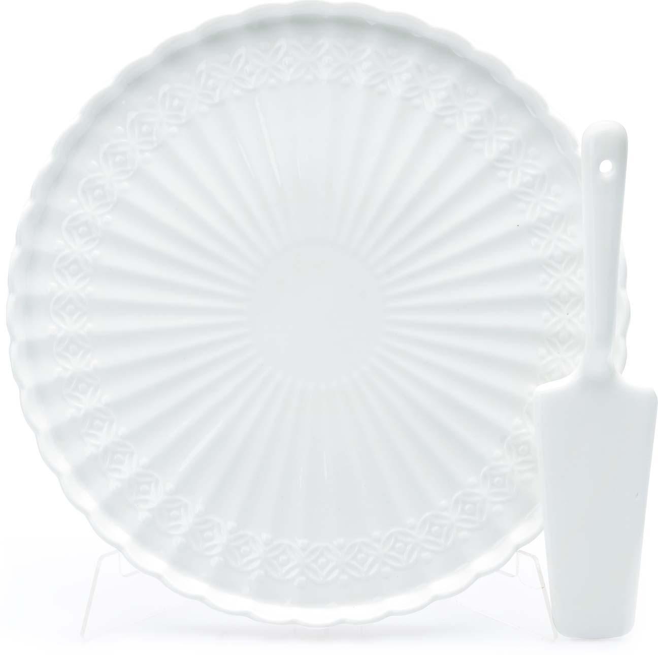 Тортовница Loraine, с лопаткой, цвет: белый, диаметр 28 см