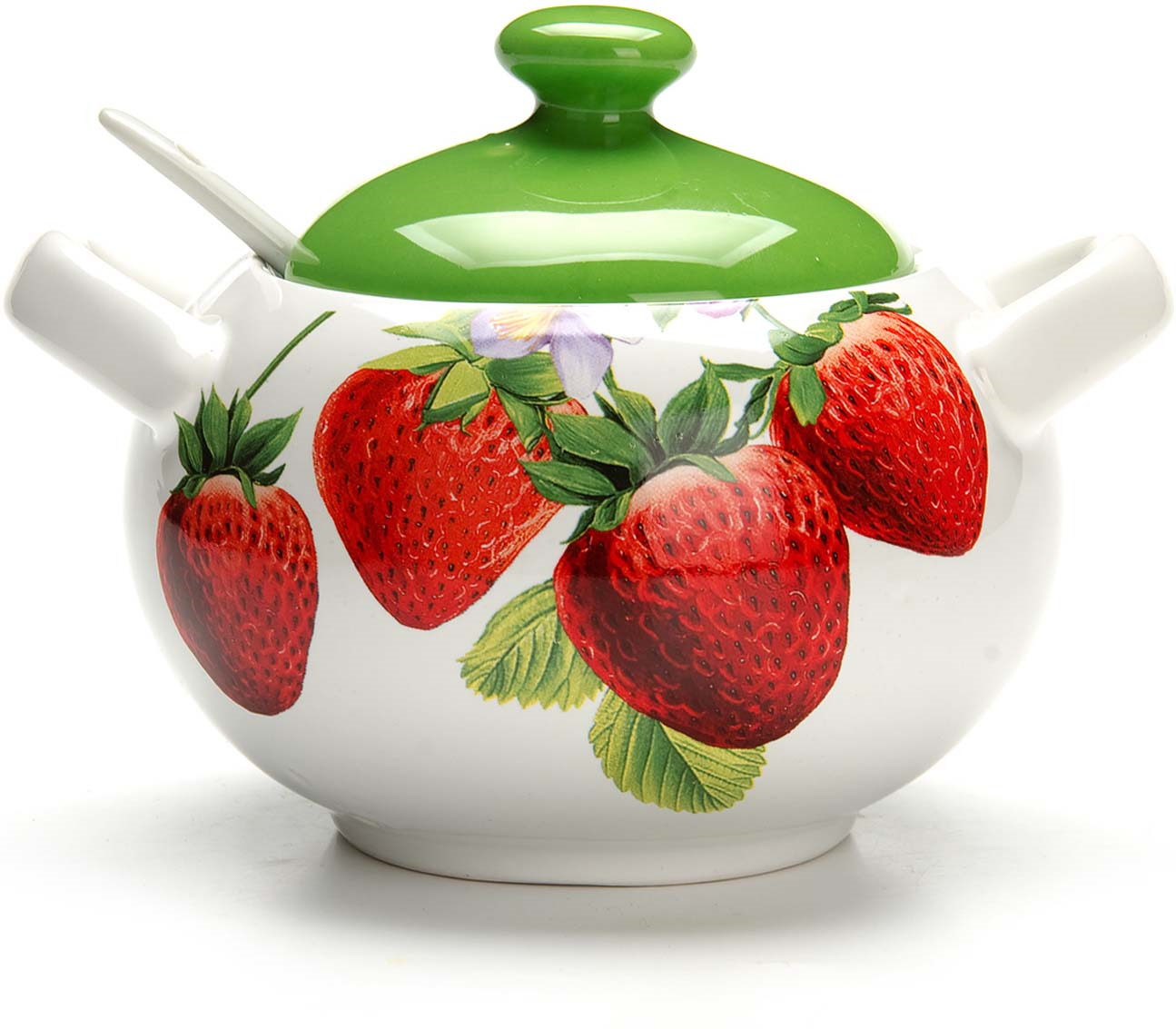 """Сахарница Loraine """"Клубника"""", с ложкой, цвет: белый, красный, зеленый, 375 мл"""