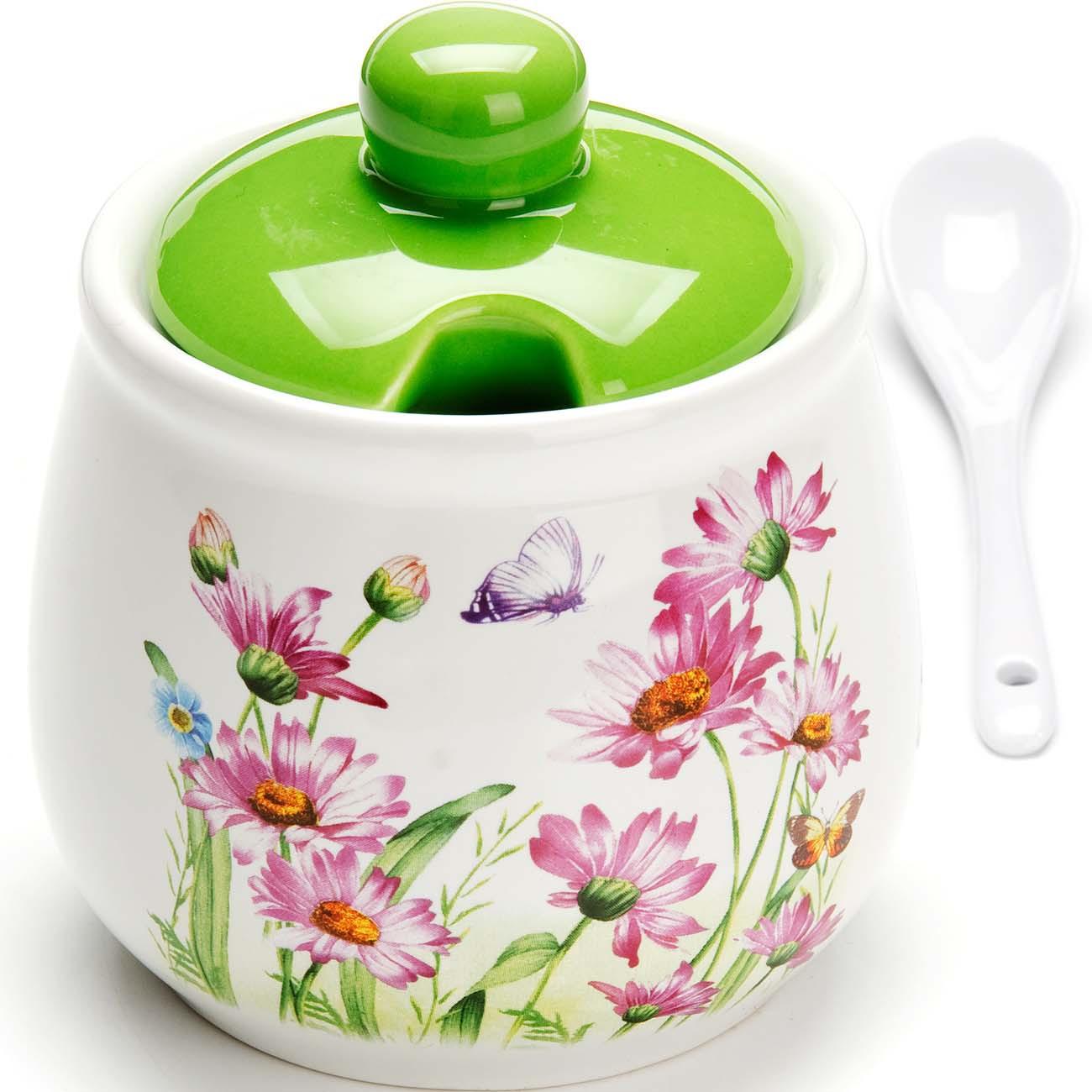 """Сахарница Loraine """"Цветы"""", цвет: белый, зеленый, розовый, 380 мл. 73436"""