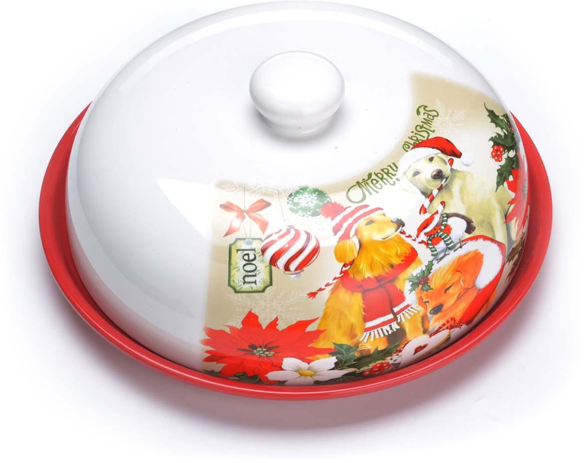 Блюдо для блинов Loraine Собачки, цвет: белый, красный, зеленый. 71912 сахарница loraine собачки цвет белый красный зеленый 400 мл 71917