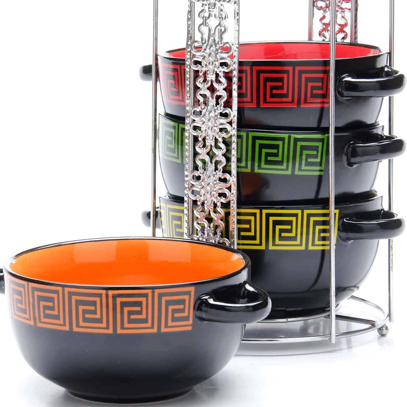 Набор супниц Loraine, на подставке, цвет: черный, оранжевый, зеленый, 540 мл, 5 предметов