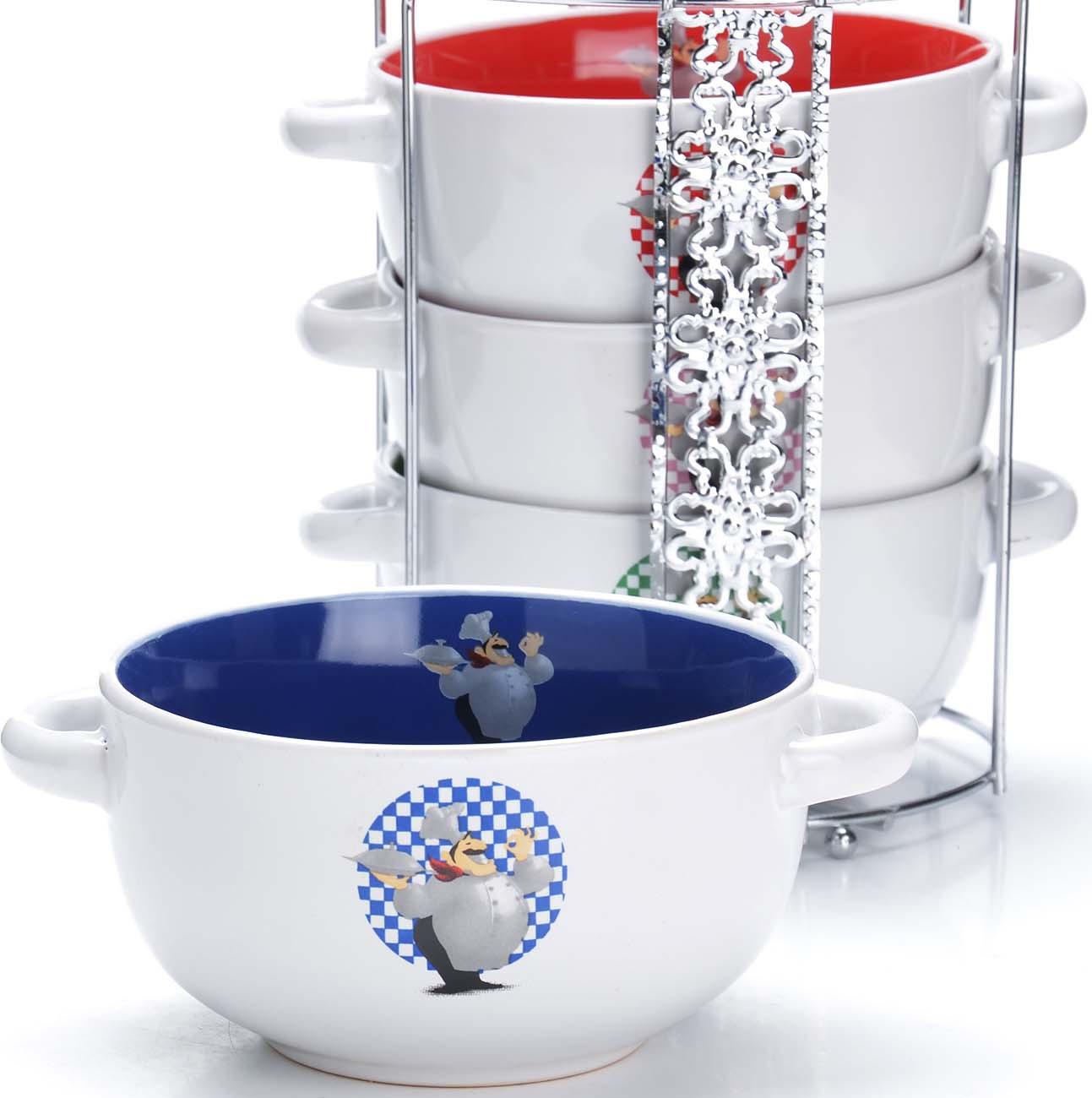 Набор супниц Loraine, на подставке, цвет: белый, синий, красный, 540 мл, 5 шт