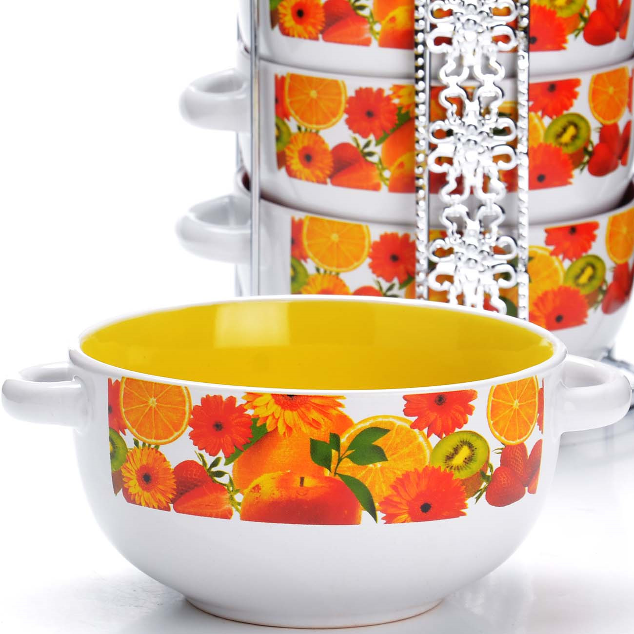 Набор супниц Loraine, на подставке, цвет: белый, желтый, красный, 540 мл, 5 шт