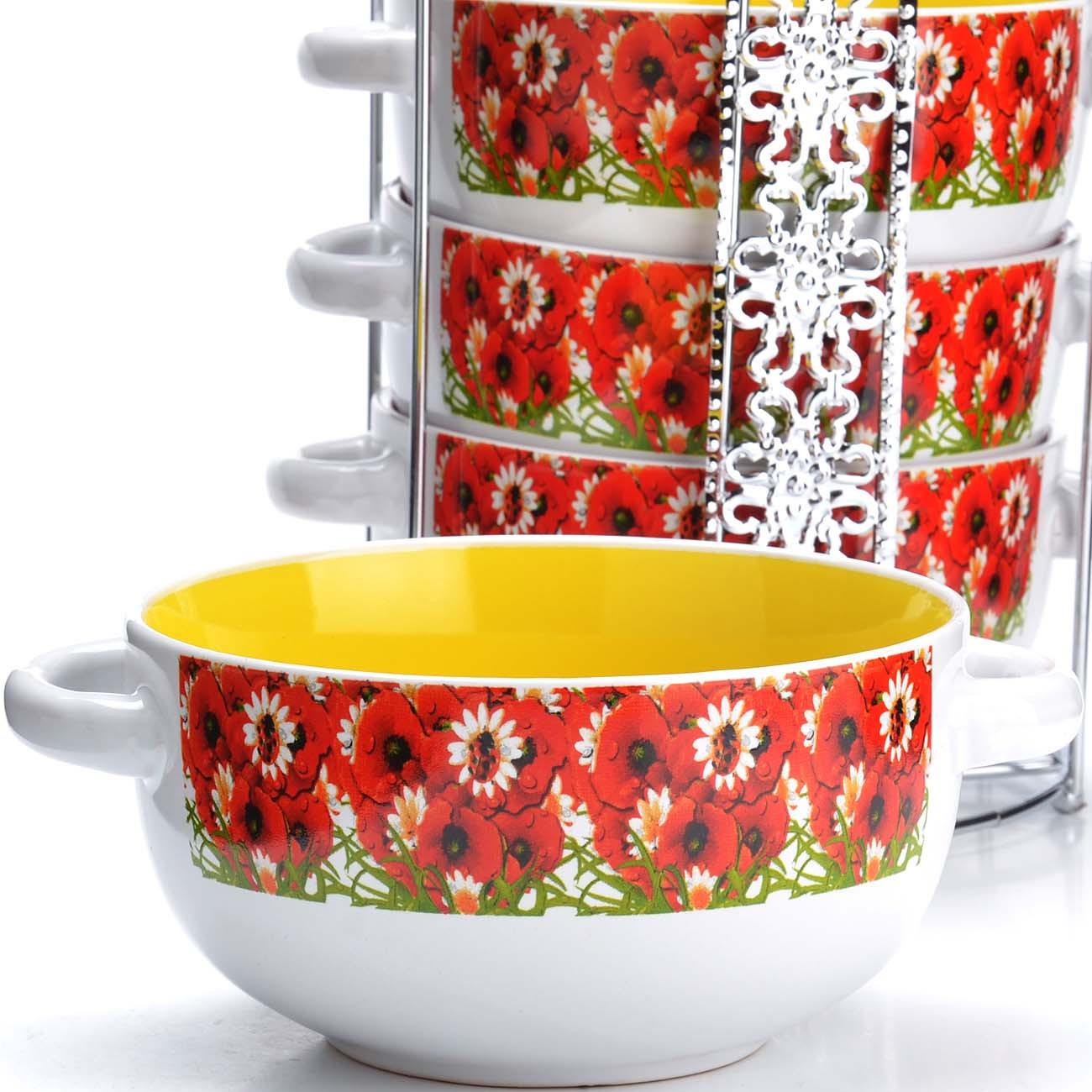 Набор супниц Loraine, на подставке, цвет: белый, красный, желтый, 540 мл, 5 шт