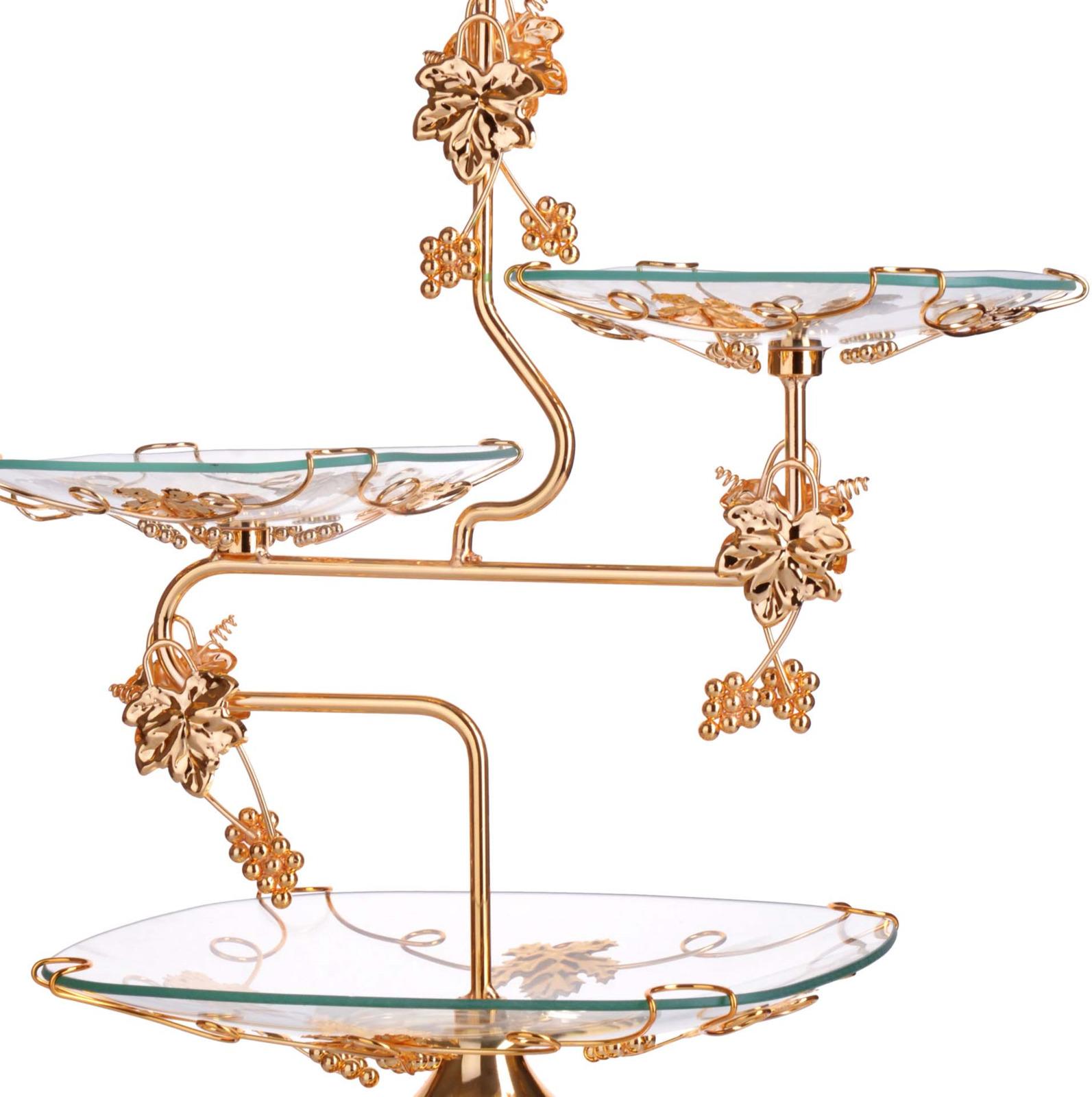 Конфетница Loraine, 3-ярусная, цвет: золотой, высота 52 см конфетница 3 ярусная loraine lr 27539