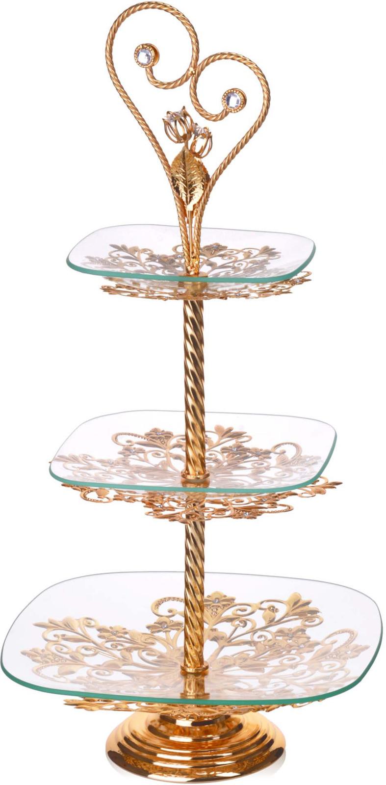 Конфетница Loraine, 3-ярусная, цвет: золотой, высота 63 см конфетница loraine олива цвет белый зеленый синий