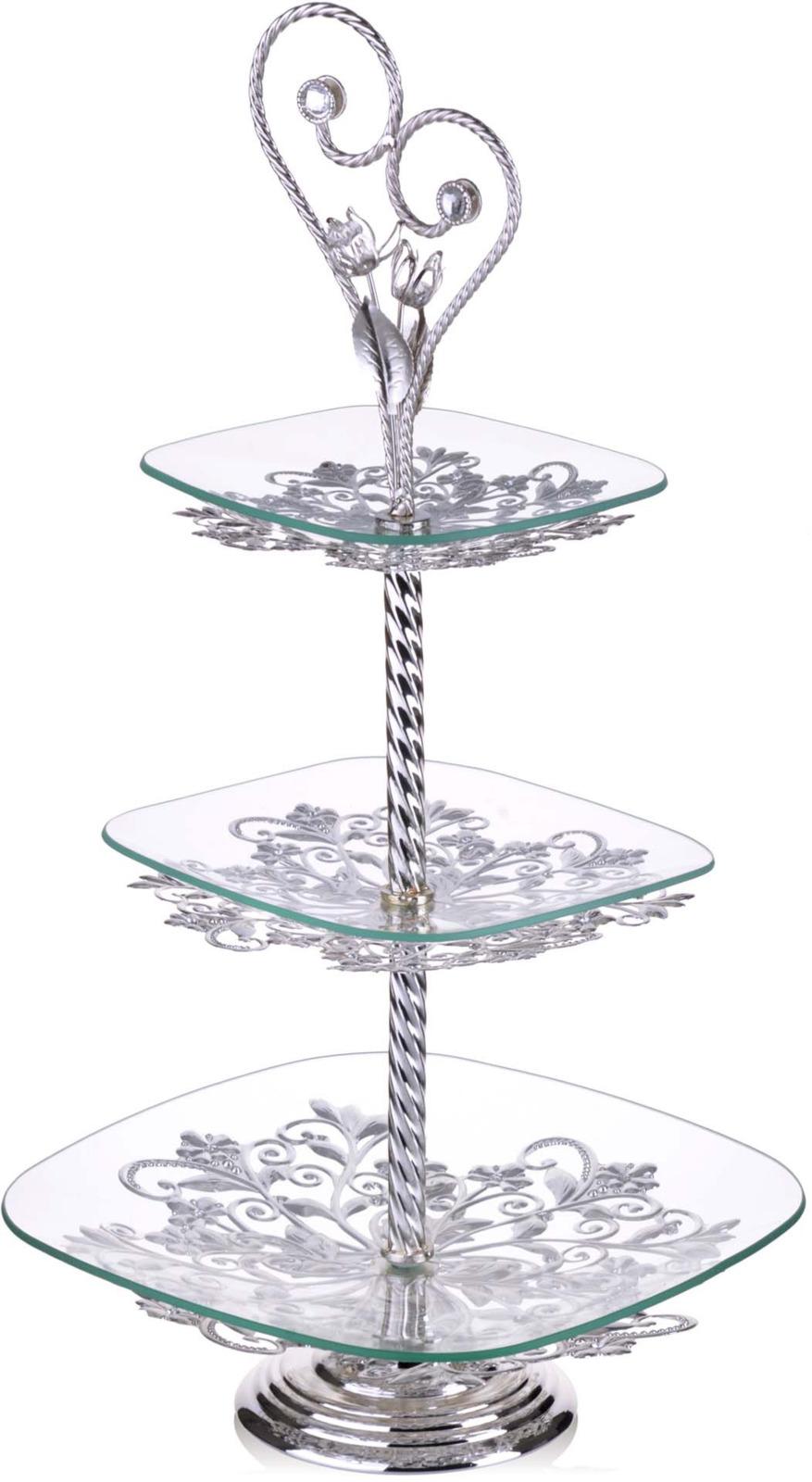 Конфетница Loraine, 3-ярусная, цвет: серебристый, высота 60 см конфетница loraine олива цвет белый зеленый синий