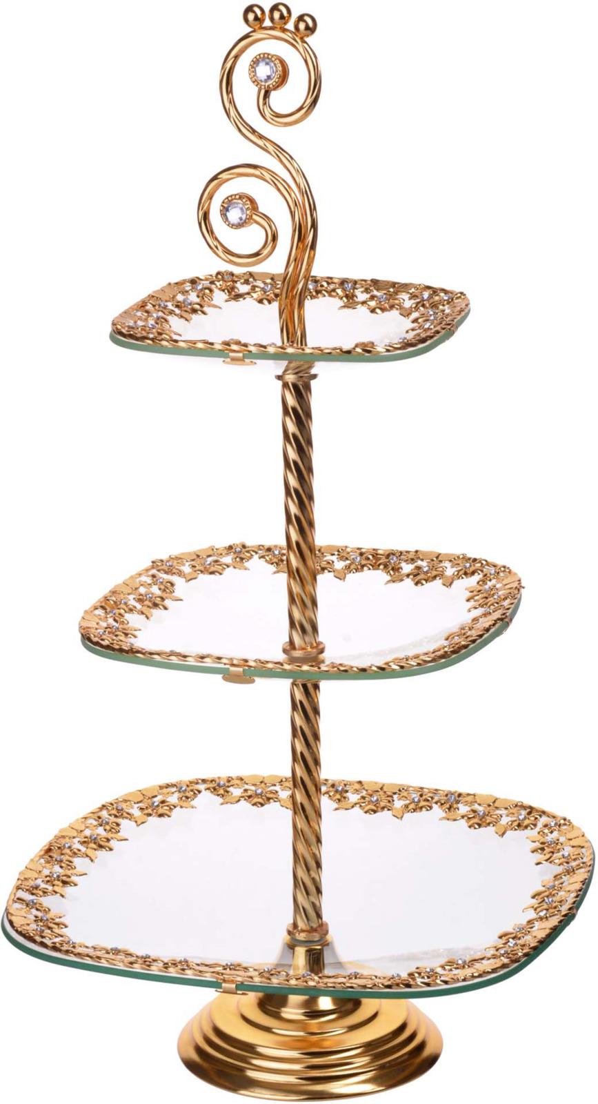 Конфетница Loraine, 3-ярусная, цвет: золотой, высота 55 см конфетница 3 ярусная loraine lr 27539