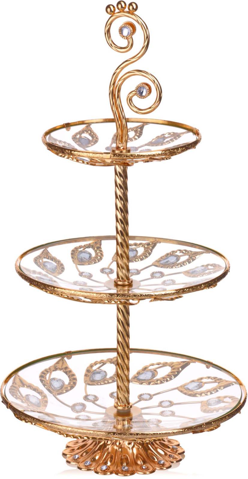 Конфетница Loraine, 3-ярусная, цвет: золотой, высота 58 см конфетница 3 ярусная loraine lr 27539