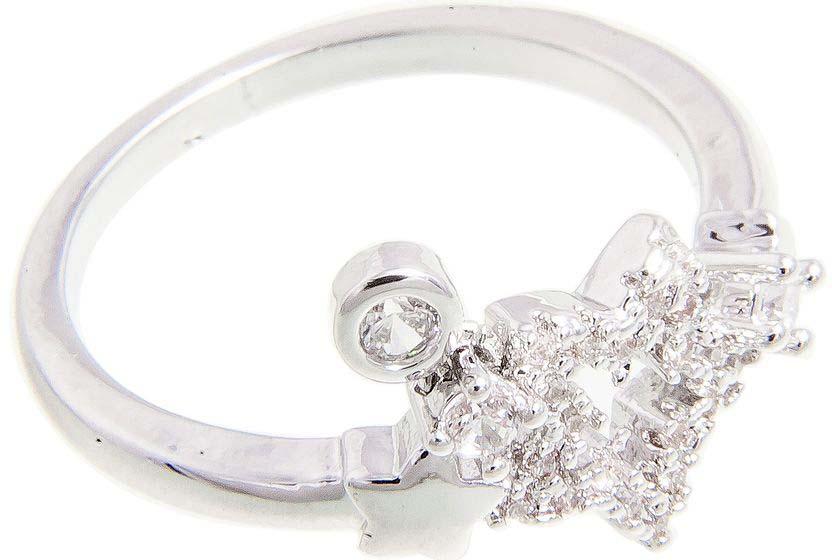 Кольцо Aiyony Macie, цвет: серебряный. R807055. Размер 18R807055Размер 18. Ширина 0,1 размер украшения 1,5 х 1,2 см.