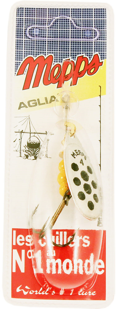 Блесна MEPPS Aglia PTS Noirs AG, вращающаяся, №4, цвет: серебристый, черный, 9 г mepps comet pts