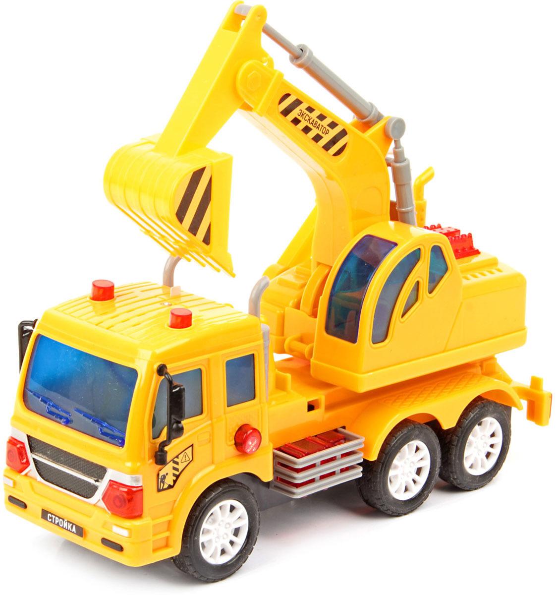 Машинка Drift Экскаватор, масштаб 1:18. 70392 машина drift спецтехника бетономешалка 48228
