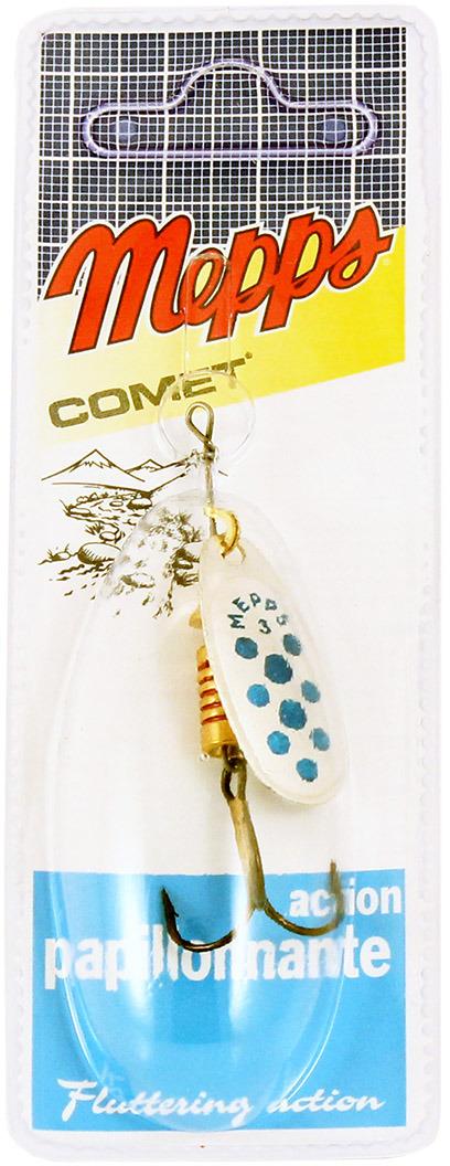 Блесна MEPPS Comet PTS Bleus AG, вращающаяся, №3, цвет: голубой, серебристый, 6,5 г mepps comet pts