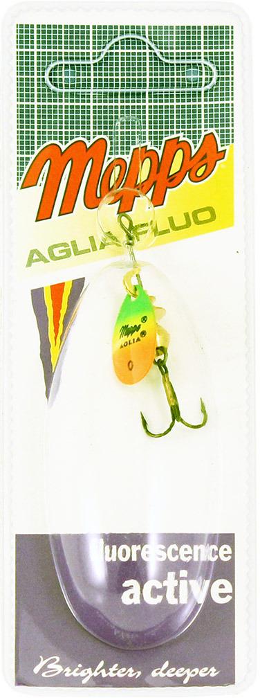 Блесна MEPPS Aglia OR/TIGER, вращающаяся, №0, цвет: зеленый, оранжевый, желтый, 2,5 г