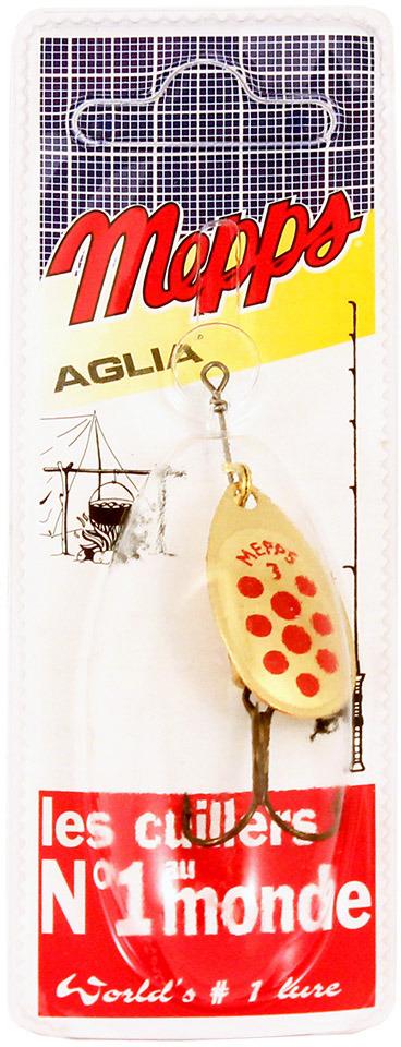 Блесна MEPPS Aglia PTS Rouges OR, вращающаяся, №3, цвет: золотой, красный, 6,5 г