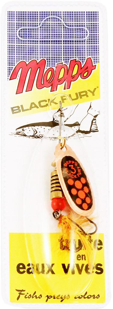 Блесна MEPPS Black Fury ORANGE MCH CU, вращающаяся, №3, цвет: медь, оранжевый, черный, 6,5 г