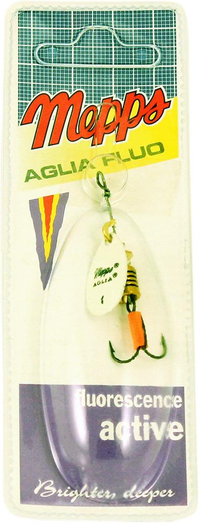 Блесна MEPPS Aglia PHOSPHO, вращающаяся, №1, цвет: белый, оранжевый, 3,5 г
