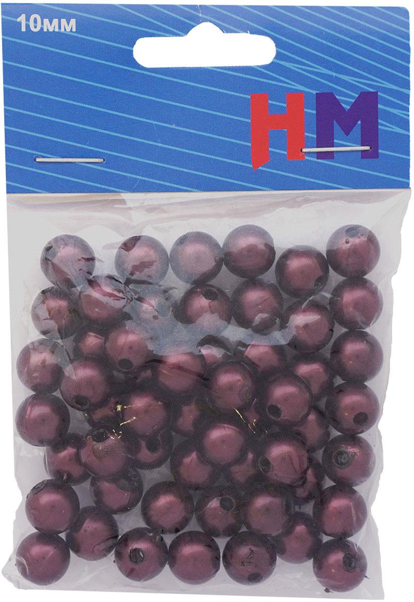 Бусины H&M, круглые, цвет: фиолетовый, 10 мм, 25 г цена