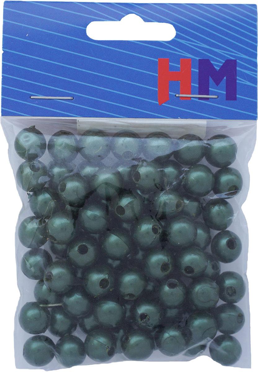 Бусины H&M, круглые, цвет: темно-зеленый, 10 мм, 25 г окрашенные деревянные бусины круглые без свинца темно синие 8x7 мм отверстие 3 мм