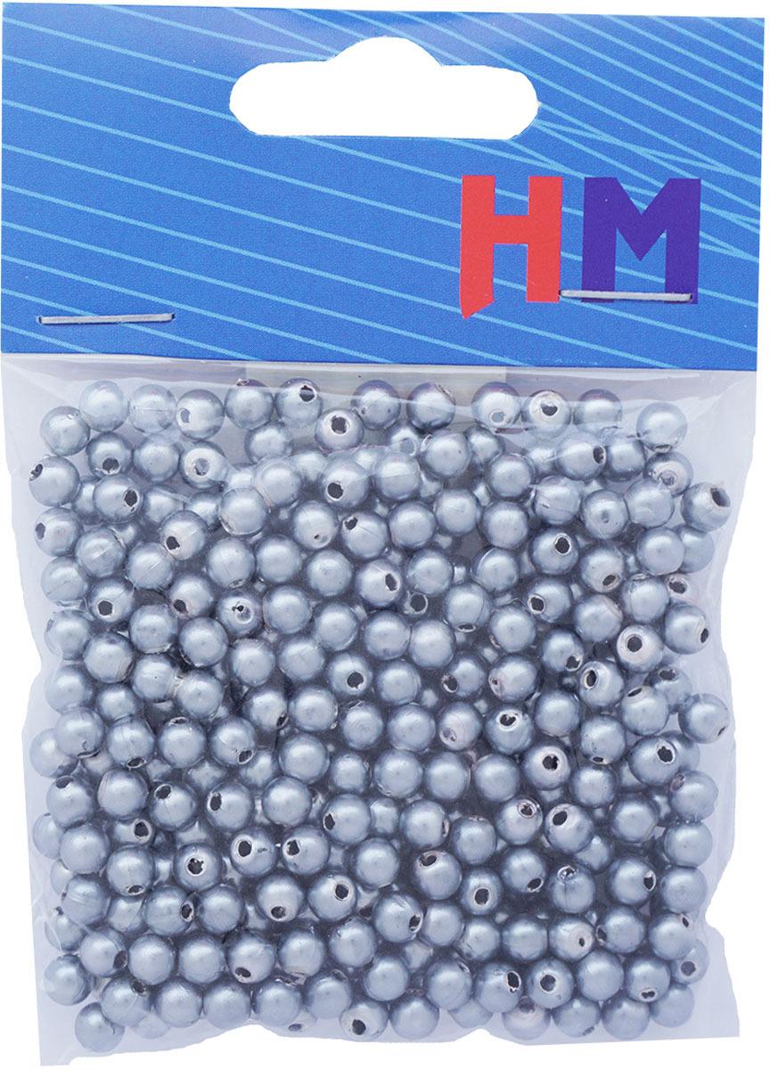 Бусины H&M, круглые, цвет: серебристый, 5 мм, 25 г