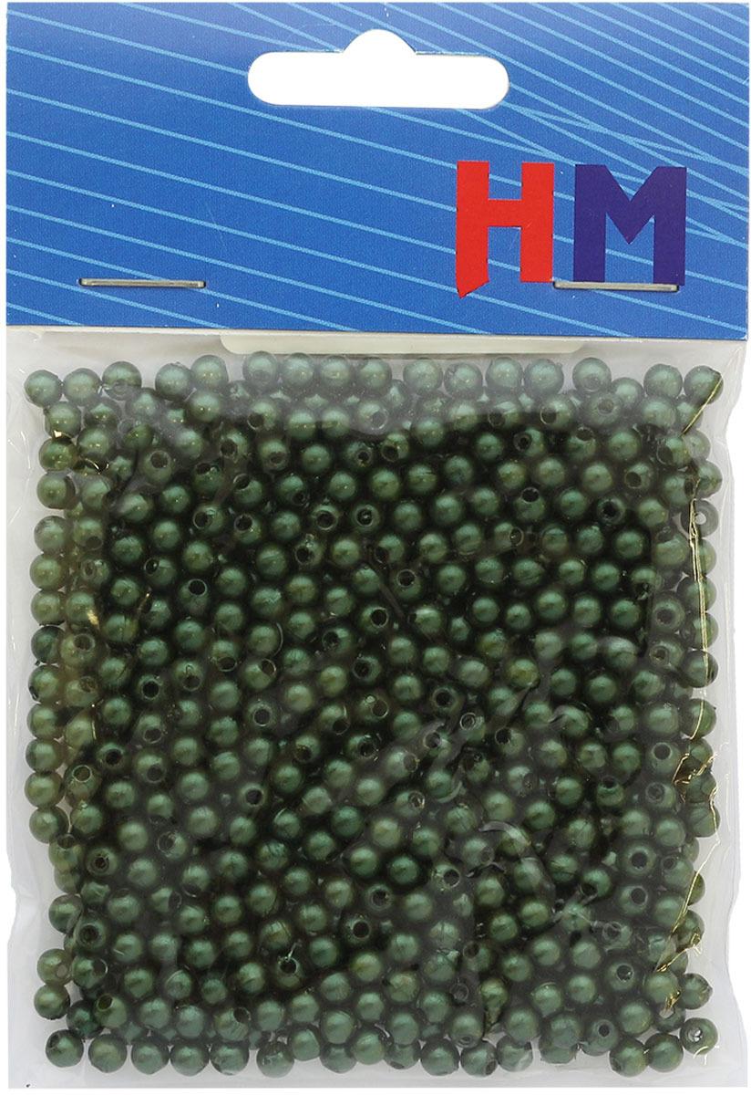 Бусины H&M, круглые, цвет: темно-зеленый, 4 мм, 25 г окрашенные деревянные бусины круглые без свинца темно синие 8x7 мм отверстие 3 мм