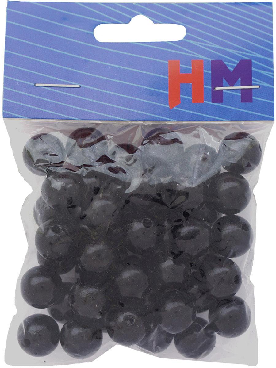 Бусины H&M, круглые, цвет: черный, 12 мм, 25 г футболка мужская adidas mufc h preshi цвет черный dp2285 размер m 48 50