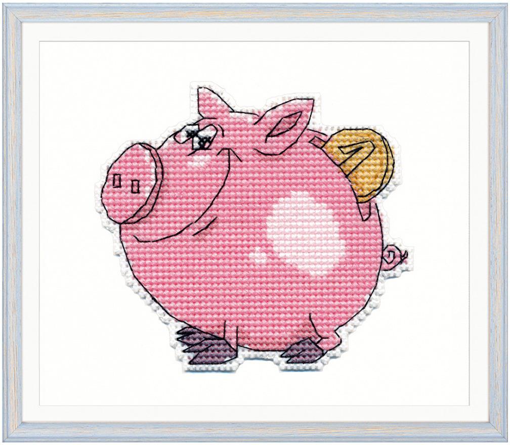 Набор для вышивания крестом Овен Свинка-копилка, 9 х 8 см набор для вышивания магнита овен анапа на пластиковой основе 13 х 7 см